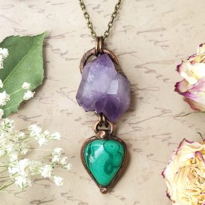 Electroformed Malachite Cabochon and Amethyst Cluster Pendant with Bronze Chain