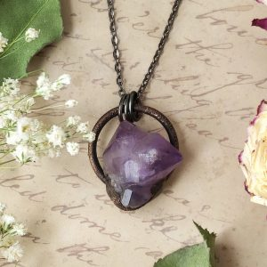 Electroformed Mini Amethyst Cluster Necklace with Gunmetal Chain