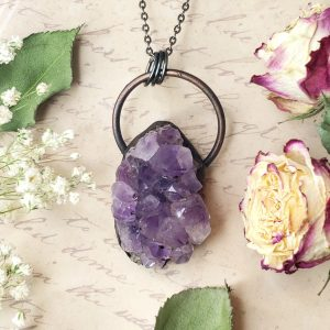 Electroformed Large Amethyst Geode Cluster with Gunmetal Chain