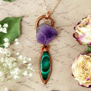 Electroformed Malachite Cabochon and Amethyst Cluster Pendant with Copper Chain