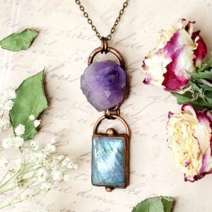 Electroformed Labradorite Cabochon and Amethyst Cluster Necklace with Bronze Chain
