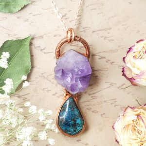 Electroformed Amethyst Cluster and Azurite Cabochon Necklace with Copper Chain