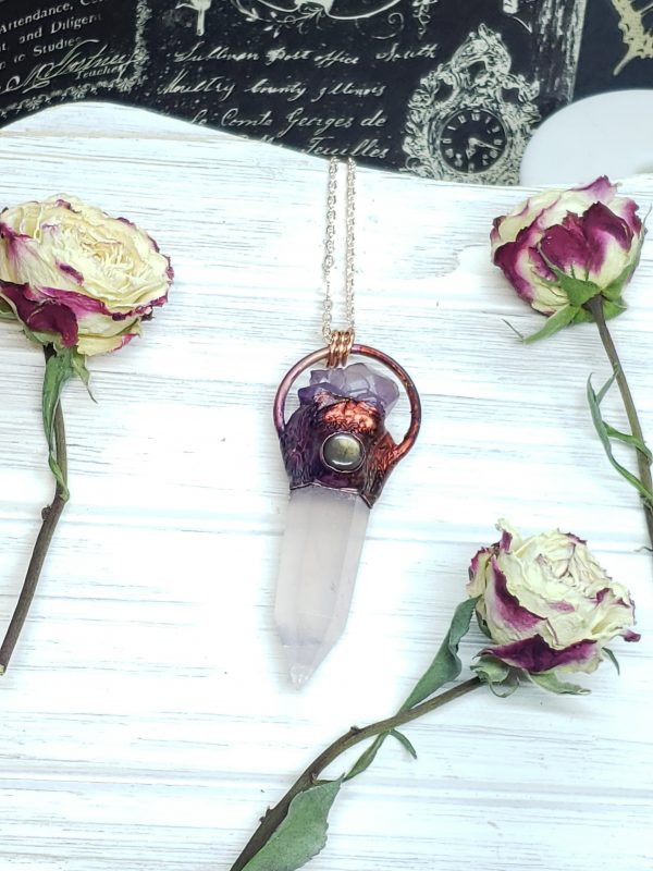 Rose Quartz Point with Labradorite and Amethyst Accents - Mystic Rose Collection