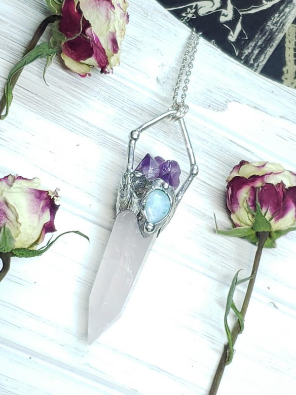 Rose Quartz Point with Amethyst and Larimar Accents - Mystic Rose Collection