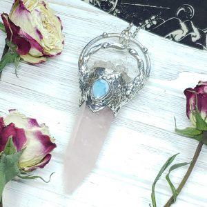 Rose Quartz Point with Quartz and Larimar Accents - Mystic Rose Collection