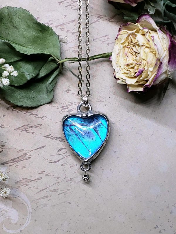 Blue Morpho Butterfly Necklace - Two-Sided Heart Shape in Silver with Charm