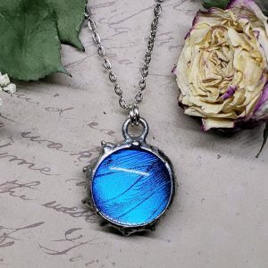 Blue Morpho Butterfly Necklace - Two-Sided Small Circle Fancy Shape in Silver