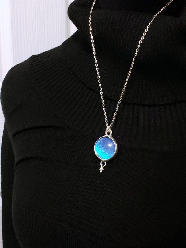 Blue Morpho Butterfly Necklace - Two-Sided Small Circle Shape with Charm in Silver