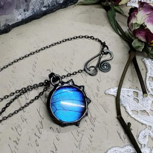 Blue Morpho Butterfly Necklace - Two-Sided Small Circle Fancy Shape in Gunmetal