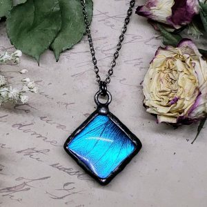 Blue Morpho Butterfly Necklace - Two-Sided Square Shape in Gunmetal