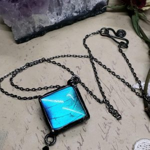 Blue Morpho Butterfly Necklace - Two-Sided Square Shape with Charm in Gunmetal
