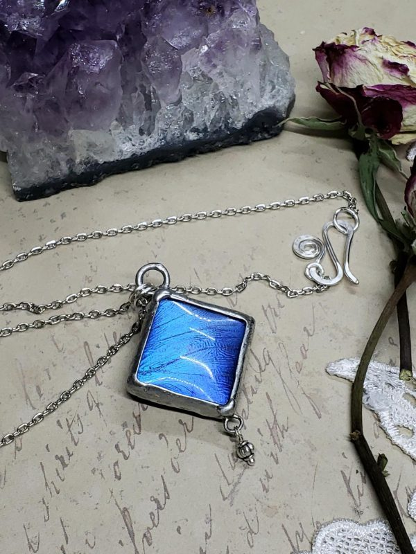 Blue Morpho Butterfly Necklace - Two-Sided Square Shape with Charm in Silver