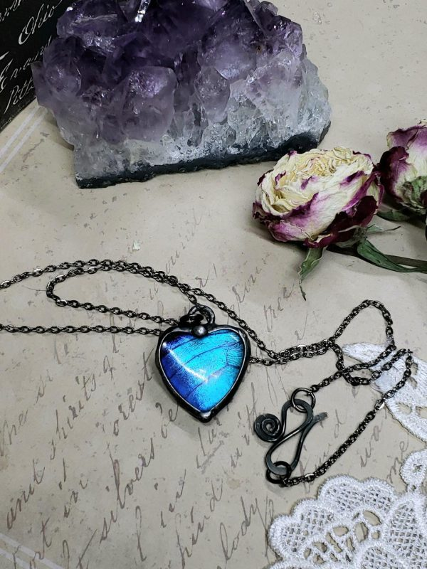 Blue Morpho Butterfly Necklace - Two-Sided Heart Shape in Gunmetal