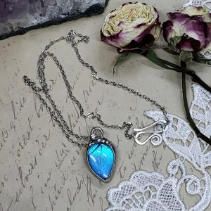 Blue Morpho Butterfly Necklace - Two-Sided Pear Shape in Silver