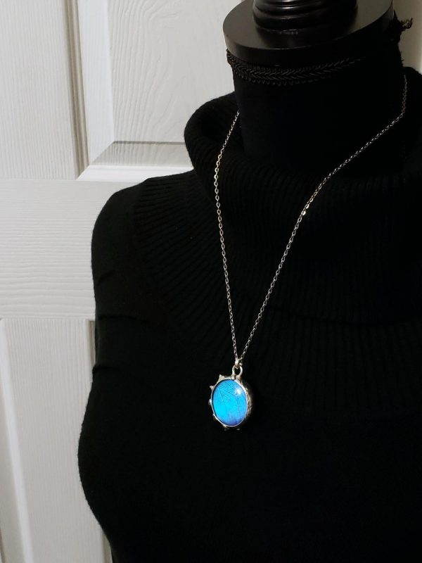 Blue Morpho Butterfly Necklace - Two-Sided Large Circle Fancy Shape in Silver