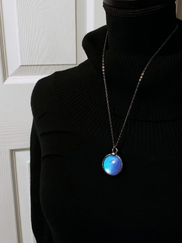 Blue Morpho Butterfly Necklace - Two-Sided Large Circle Smooth Shape in Gunmetal