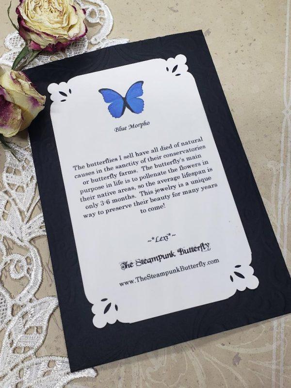 Blue Morpho Butterfly Necklace - Two-Sided Heart Shape in Gunmetal